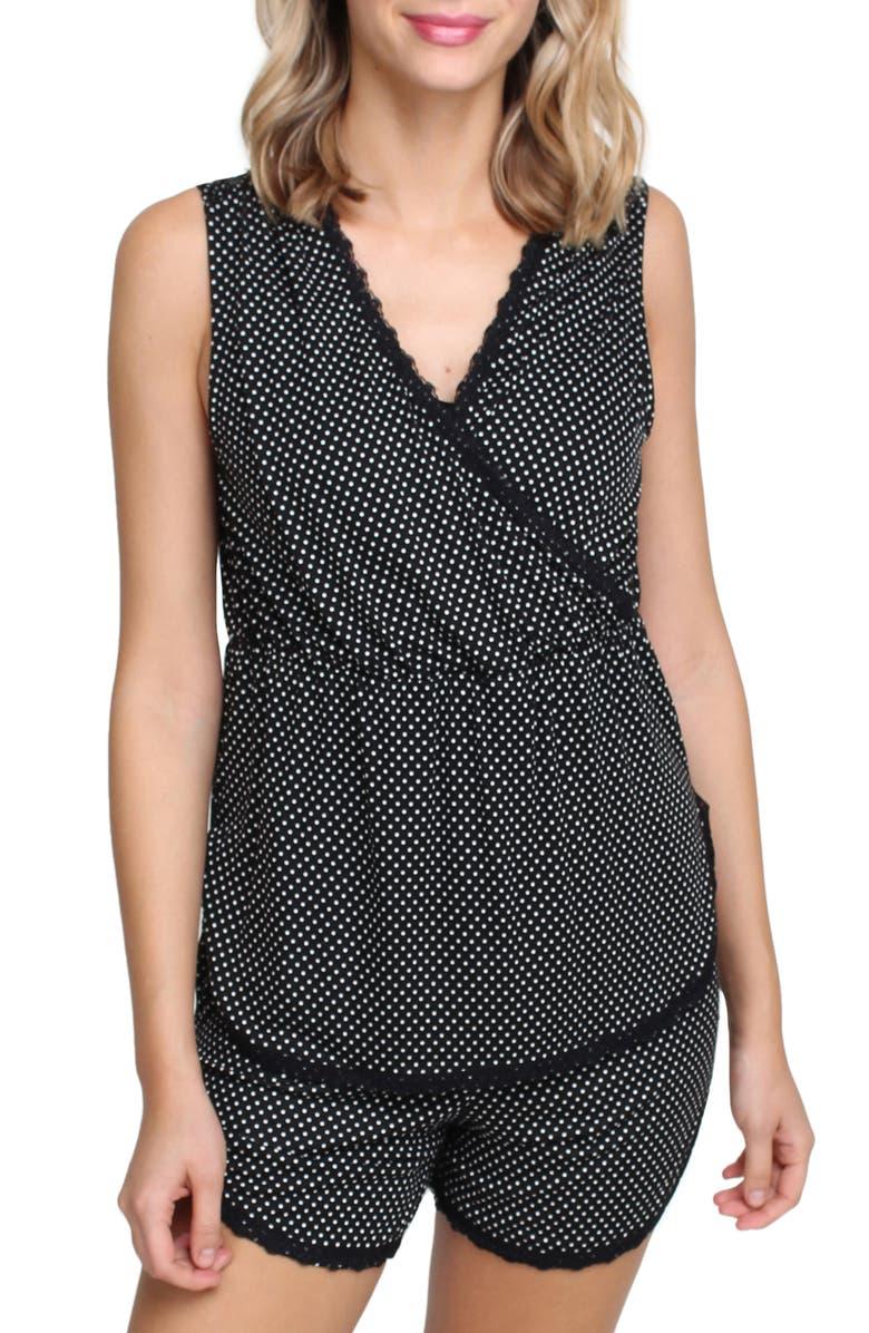 SAVI MOM Cali Short Maternity/Nursing Pajamas, Main, color, BLACK POLKA DOT