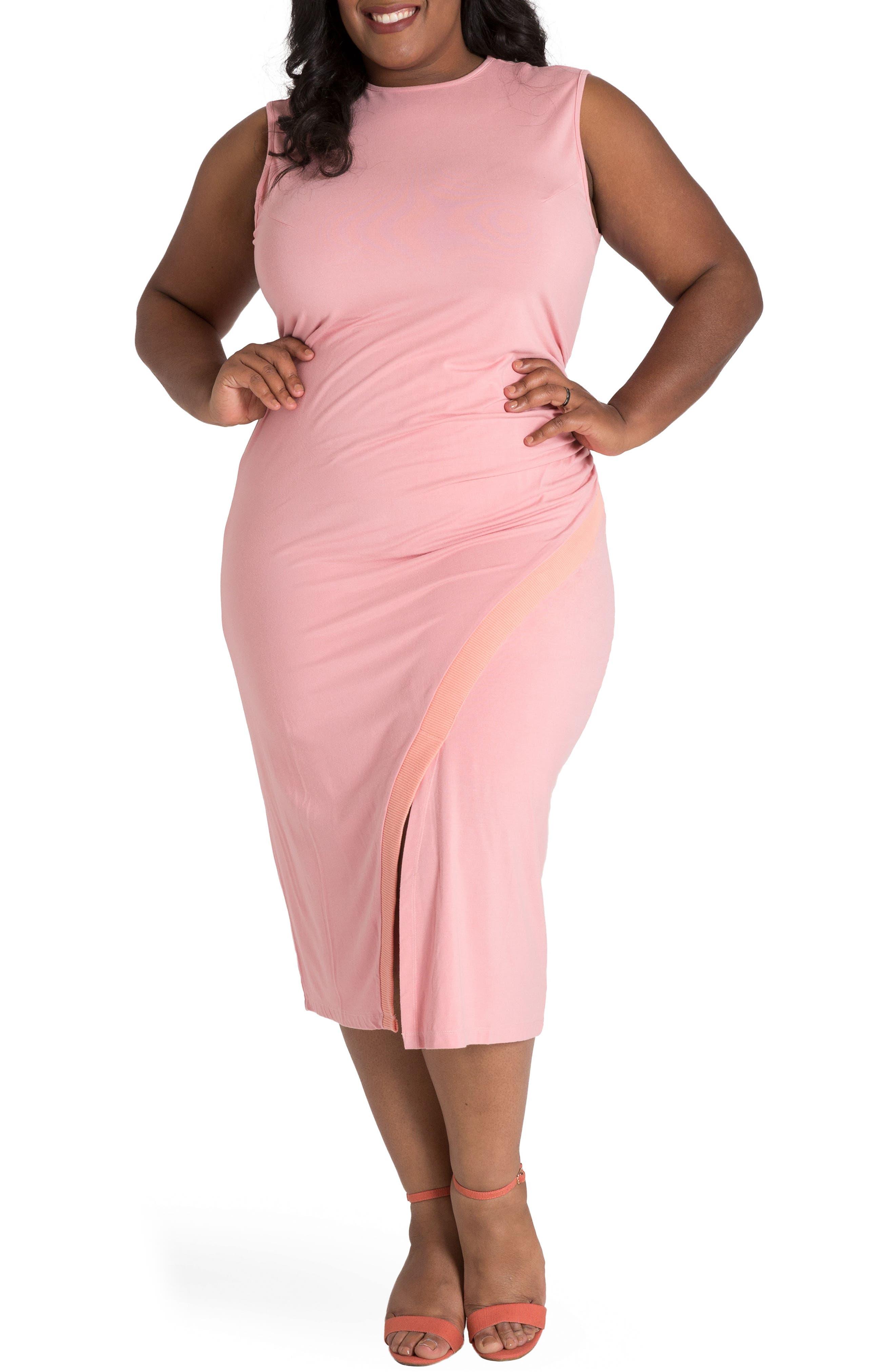 Plus Size Poetic Justice Brianna Jersey Sheath Midi Dress, Pink