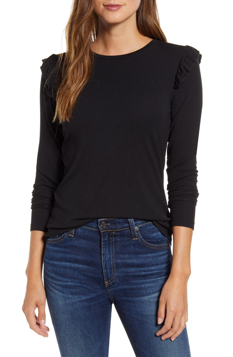 RACHEL PARCELL Pretty Shoulder Slim Sweater, Main, color, BLACK