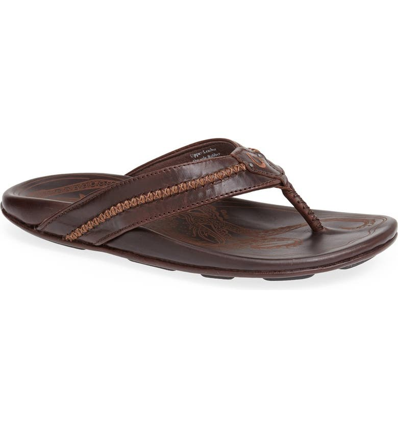 OLUKAI Mea Ola Flip Flop, Main, color, DARK JAVA/ DARK JAVA LEATHER