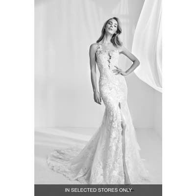 Atelier Pronovias Ranisa Embroidered Lace Mermaid Gown, Size IN STORE ONLY - Ivory