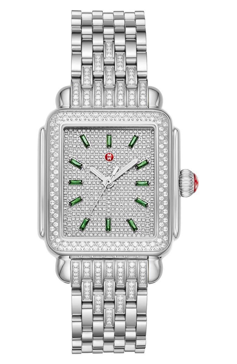 MICHELE Deco Diamond Bracelet Watch, 34mm, Main, color, SILVER/ EMERALD/ SILVER