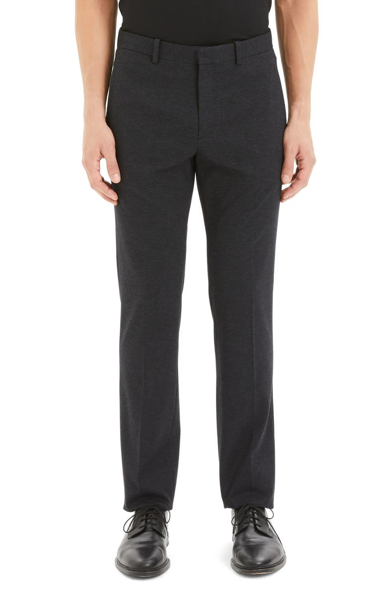 THEORY Payton Marled Ponte Straight Leg Pants, Main, color, NOCTURNE NAVY