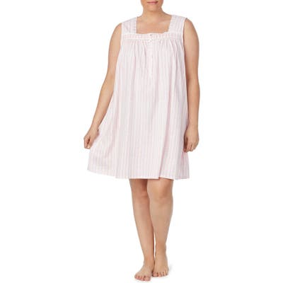 Eileen West Square Neck Sleeveless Nightgown, Pink