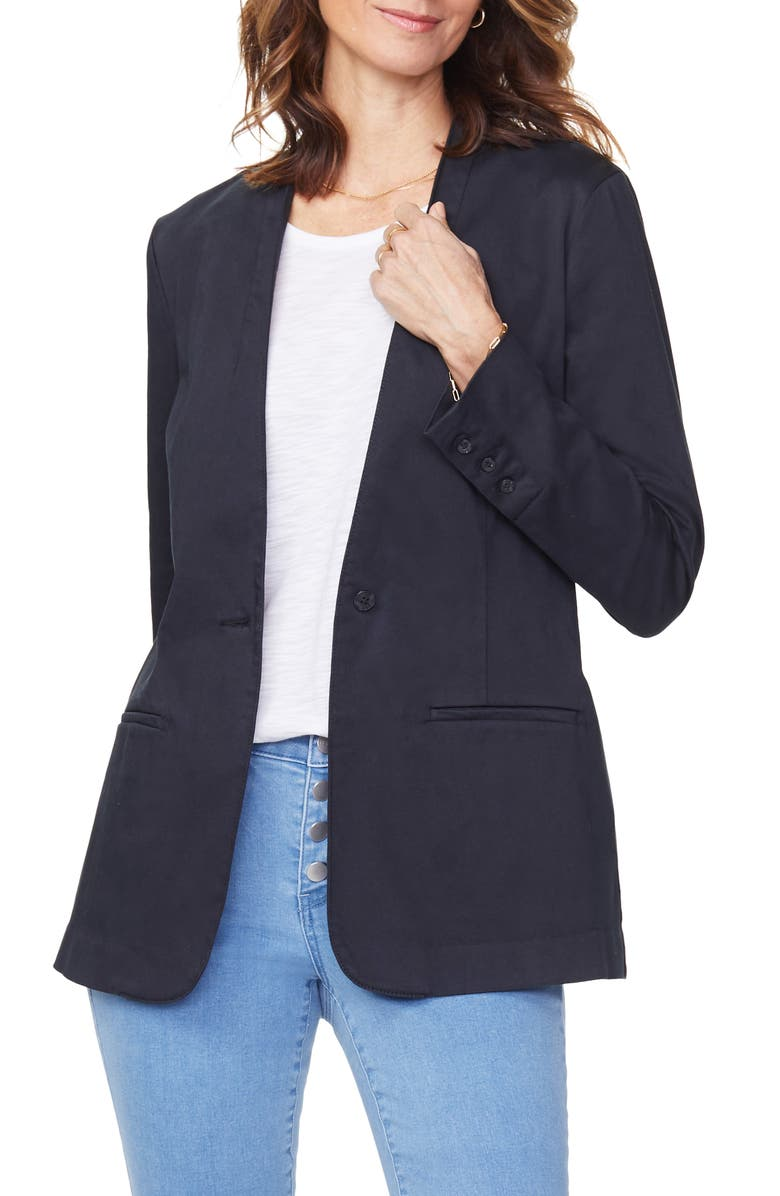 NYDJ One-Button Linen Blend Blazer, Main, color, BLACK