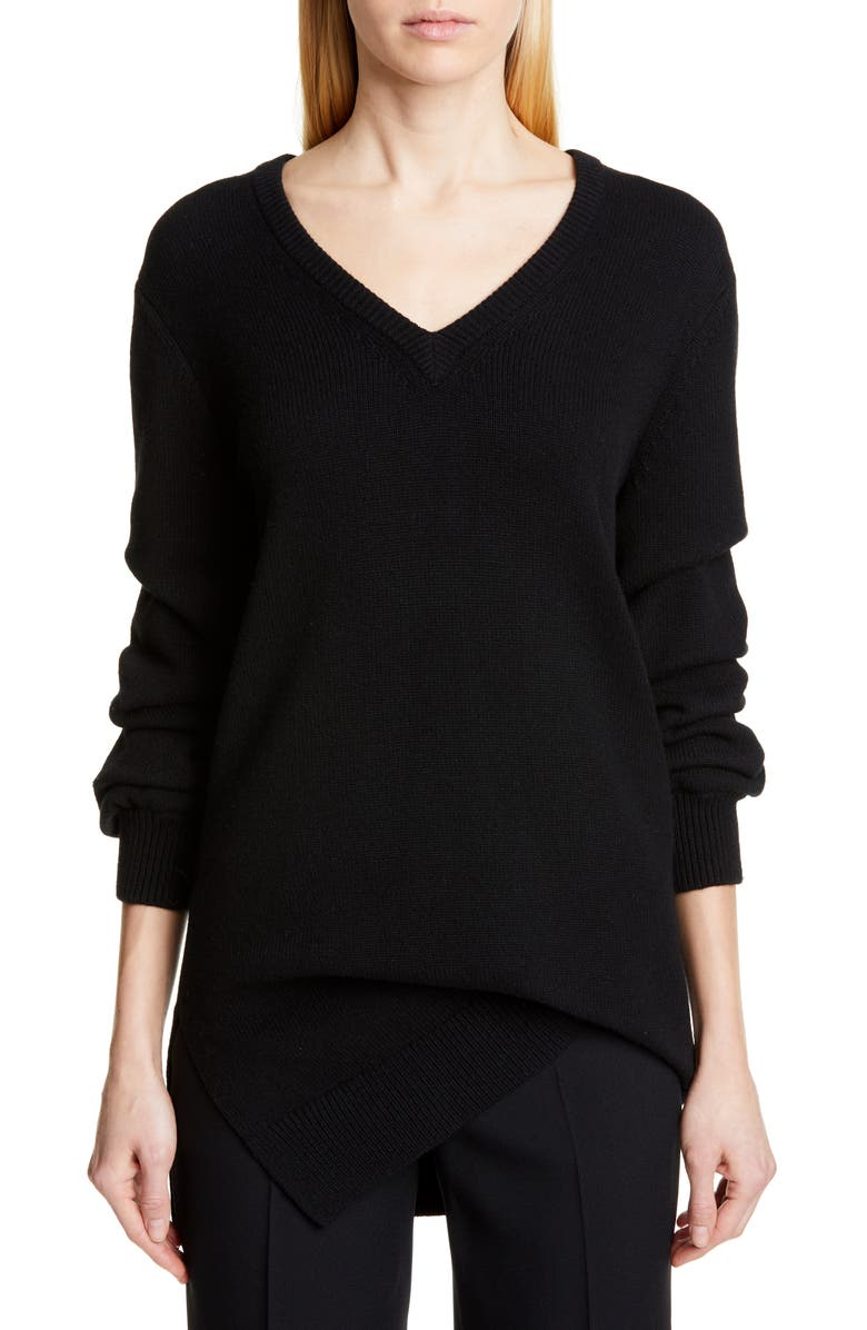 MICHAEL KORS COLLECTION Michael Kors V-Neck Asymmetrical Cashmere Sweater, Main, color, BLACK