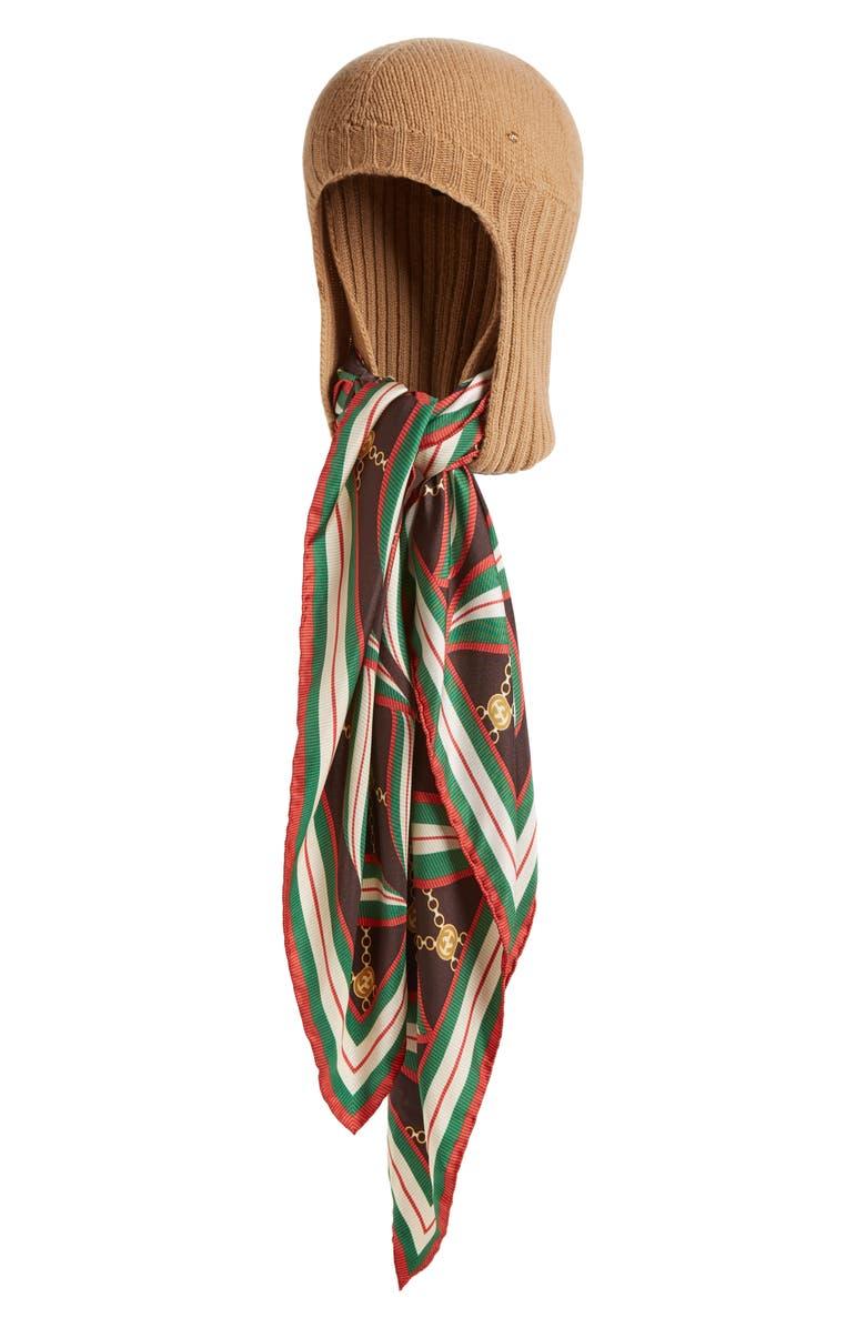 GUCCI Loren Knit Hat, Main, color, CAMEL/ DARK