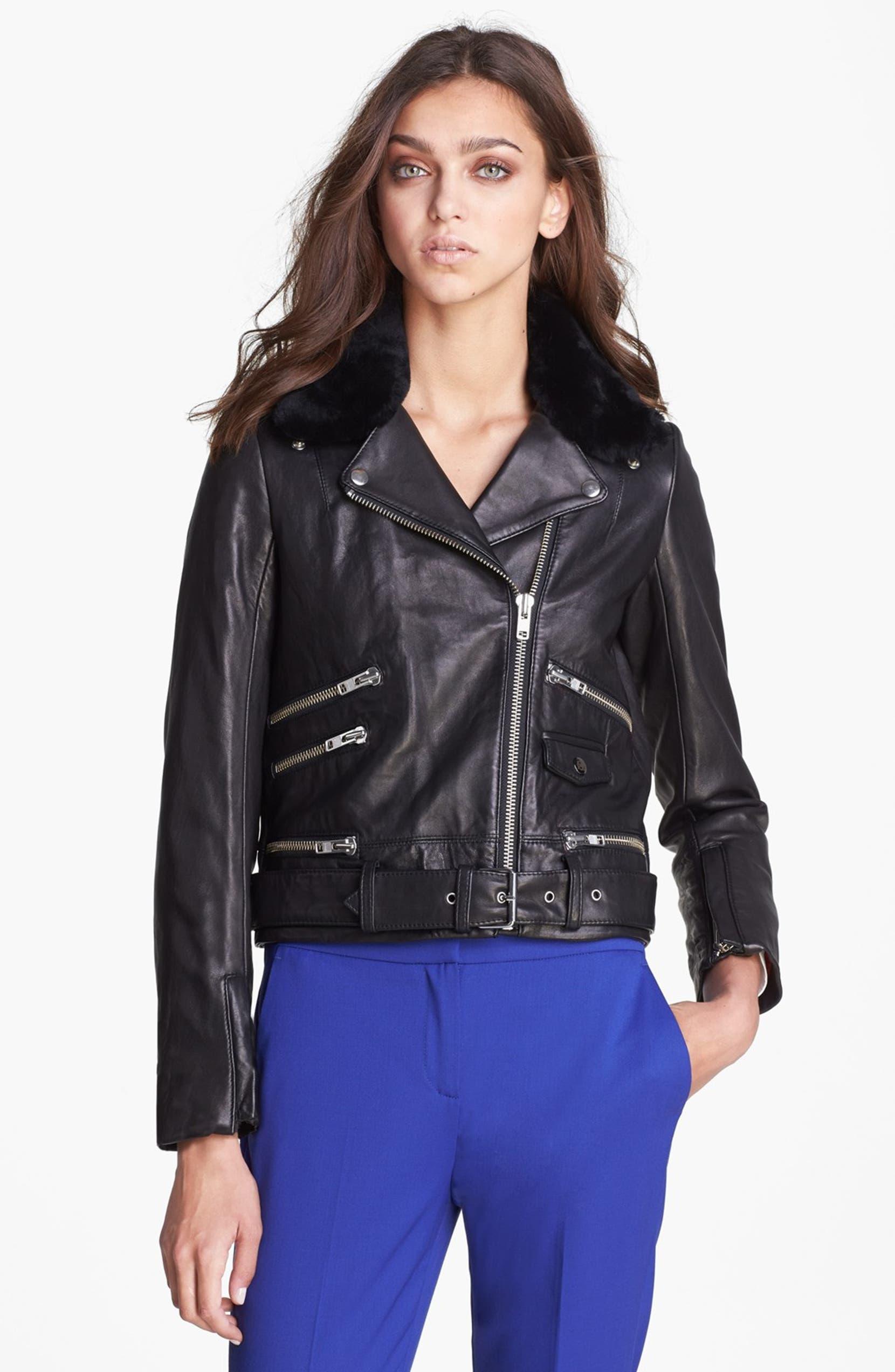 1348a671df The Kooples Leather Biker Jacket with Genuine Fur Collar | Nordstrom