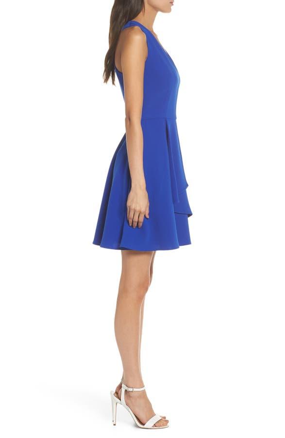 de5f9d17 Adelyn Rae Asymmetrical Crepe Fit & Flare Dress   Nordstrom