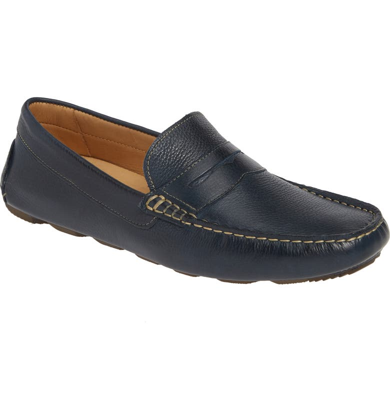 1901 Bermuda Penny Loafer, Main, color, NAVY LEATHER