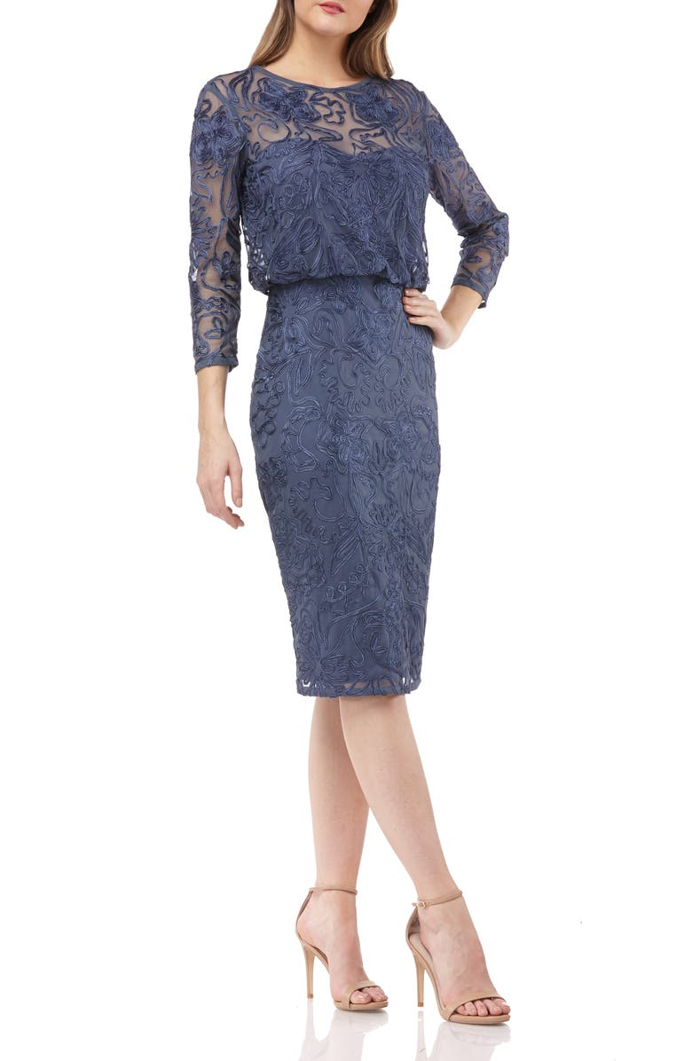 JS COLLECTIONS Soutache Embroidered Blouson Dress, Main, color, SMOKE
