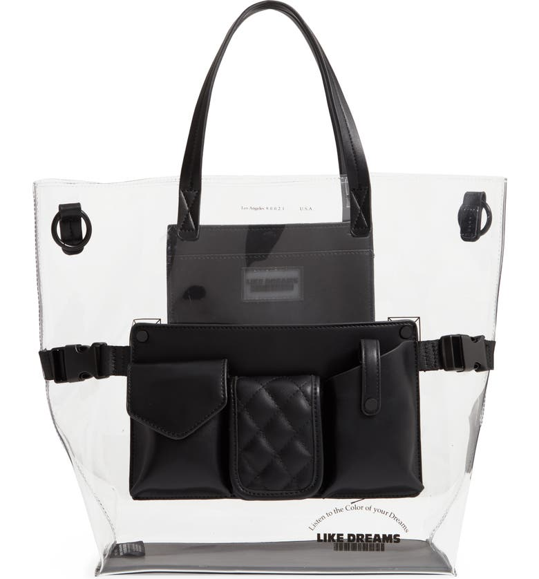 LIKE DREAMS Transparent Utility Tote, Main, color, 001