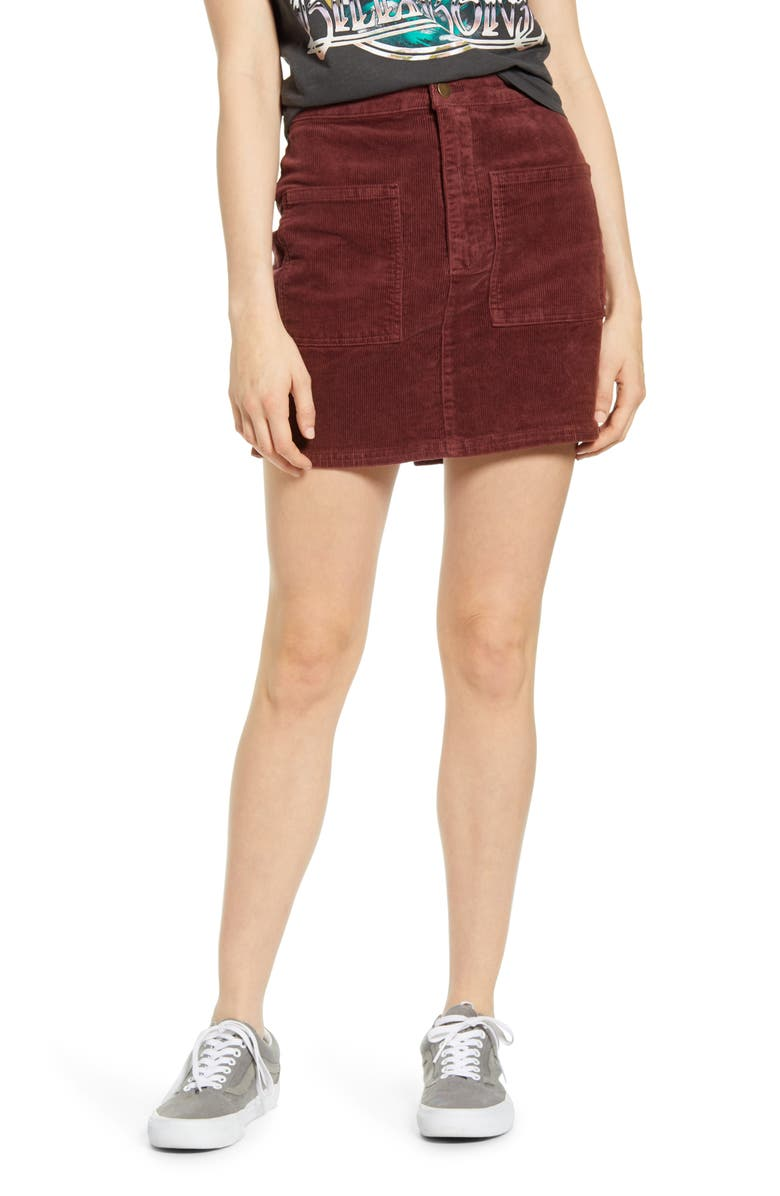 BILLABONG Magic Touch Corduroy Miniskirt, Main, color, COCO BERRY