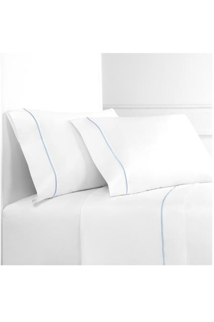 Image of Melange Home Queen 300 Thread Count Cotton Percale Single Marrow Stripe Sheet Set
