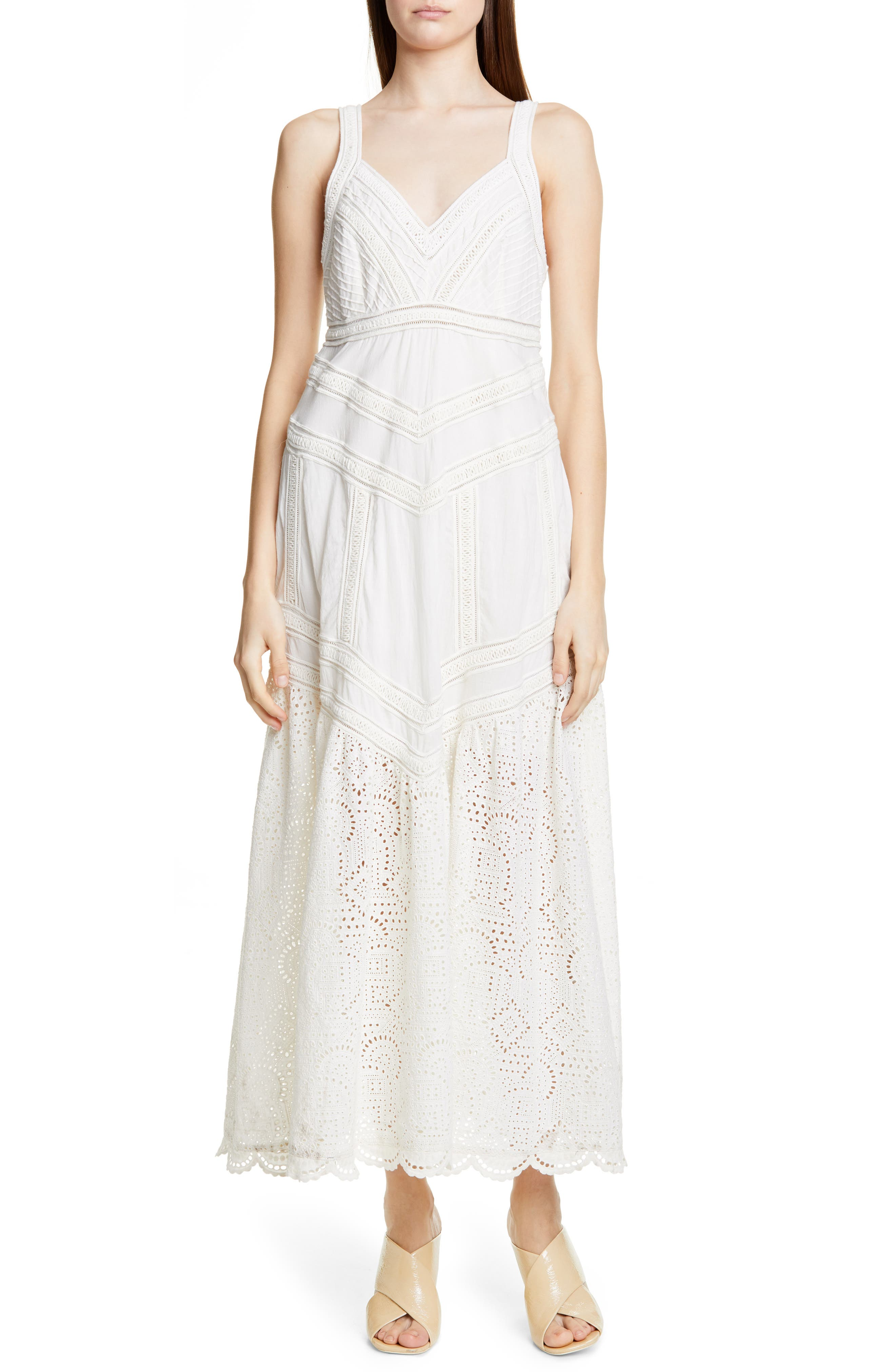 Sea Agatha Eyelet Hem Dress, White