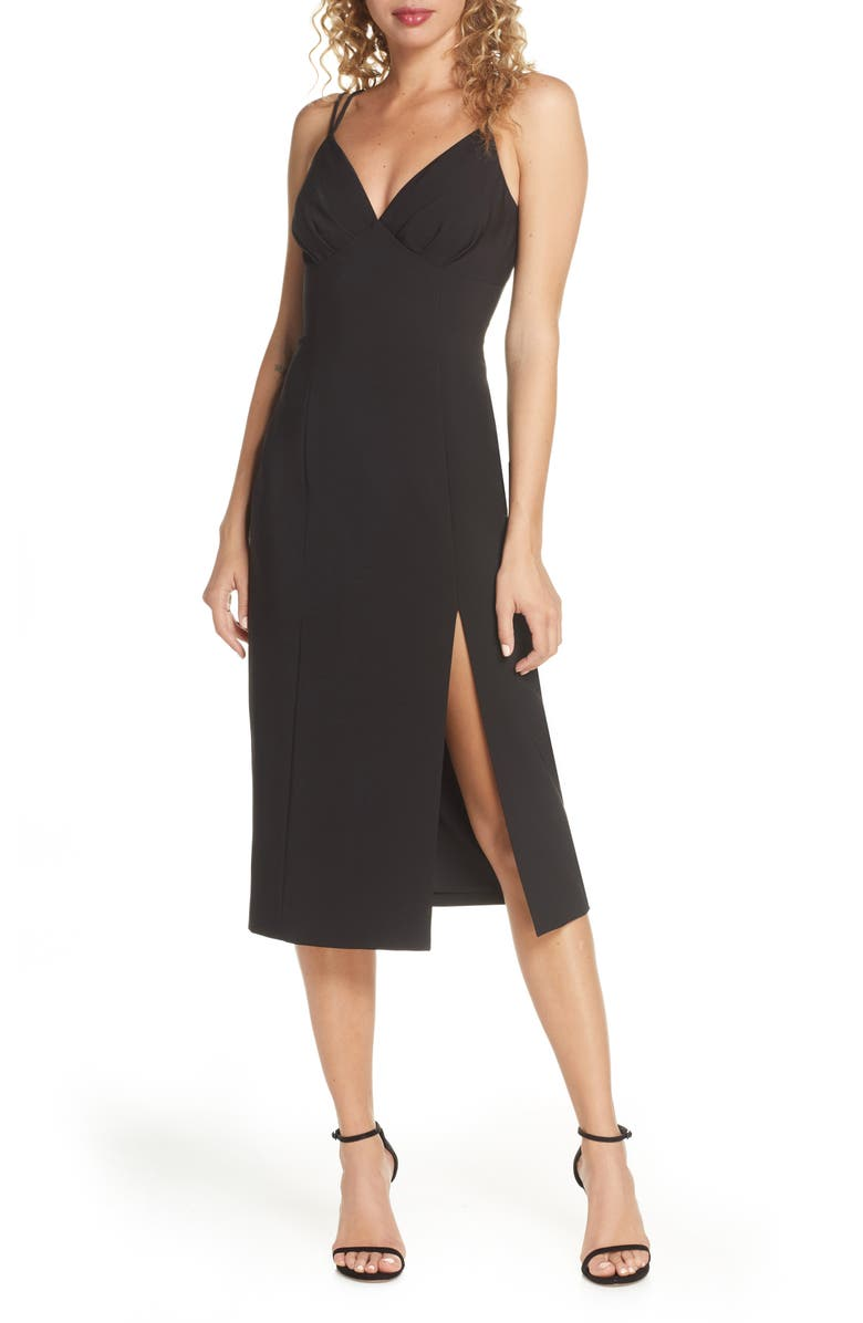 FINDERS KEEPERS Victoria Dual Strap Midi Dress, Main, color, 001
