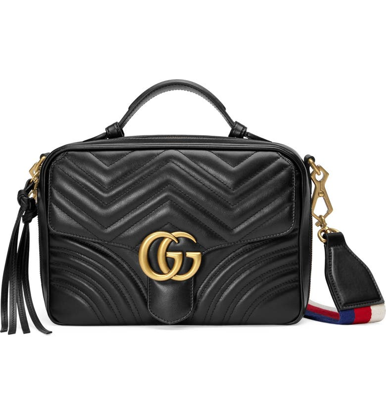 GUCCI Small GG Marmont 2.0 Matelassé Leather Camera Bag with Webbed Strap, Main, color, 001