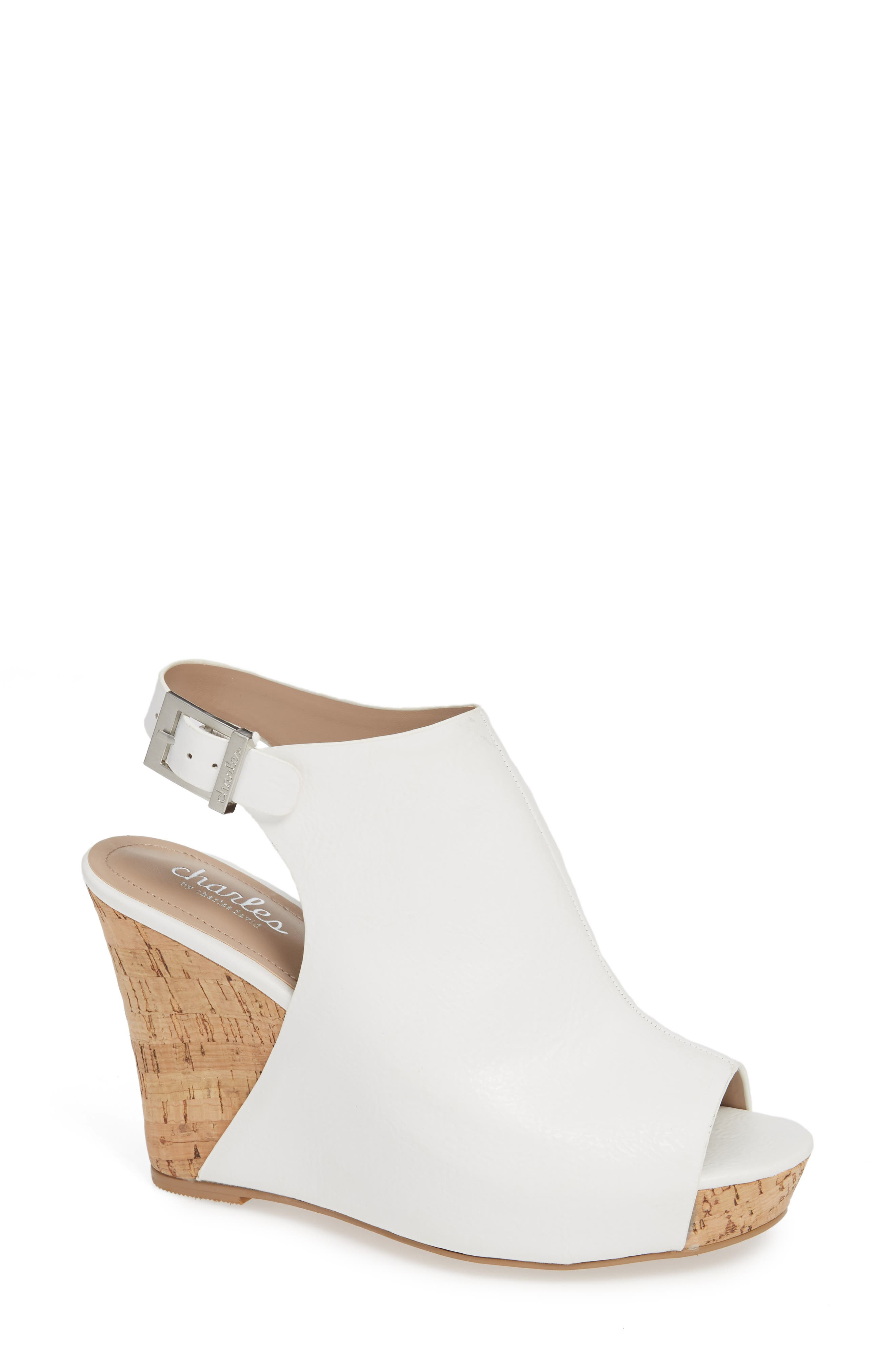Charles By Charles David Lobby Slingback Wedge Sandal- White