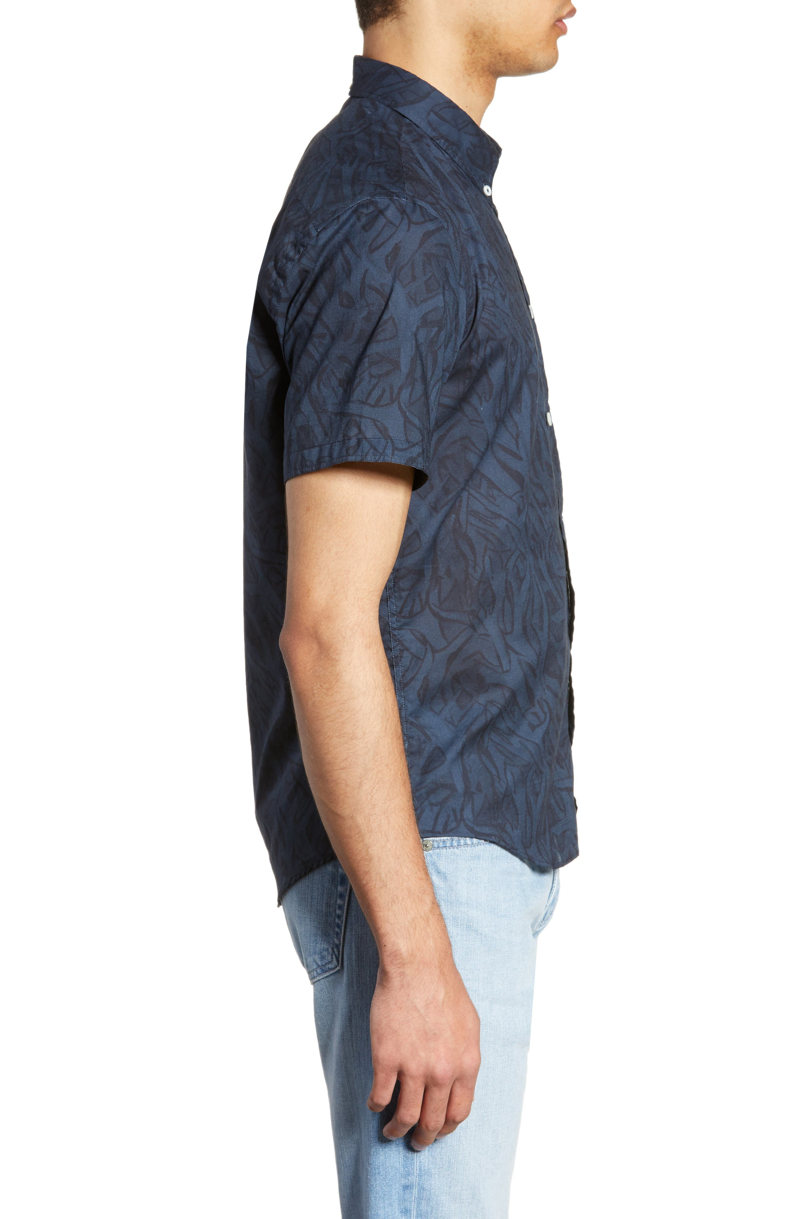 ,                             Kirby Antlers Slim Fit Woven Shirt,                             Alternate thumbnail 4, color,                             BLUE/ NAVY