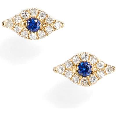 Ef Collection Evil Eye Diamond & Sapphire Stud Earrings