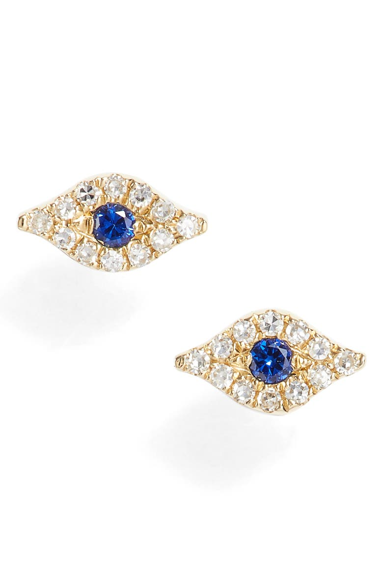 EF COLLECTION Evil Eye Diamond & Sapphire Stud Earrings, Main, color, YELLOW GOLD