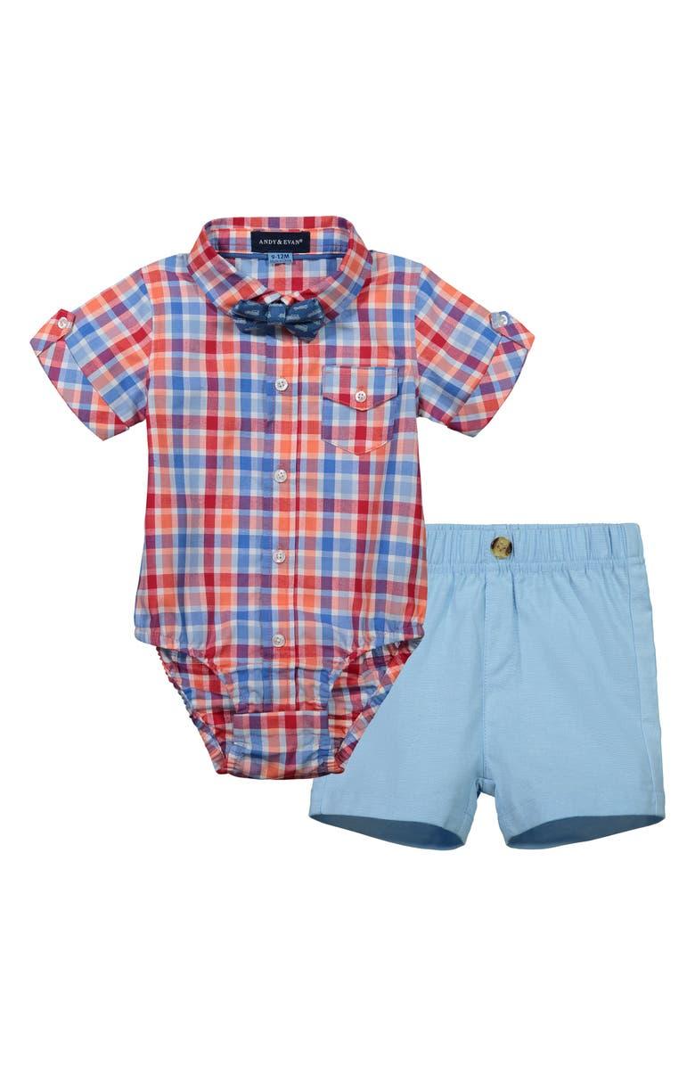 ANDY & EVAN Bodysuit, Shorts & Bow Tie Set, Main, color, LIGHT BLUE