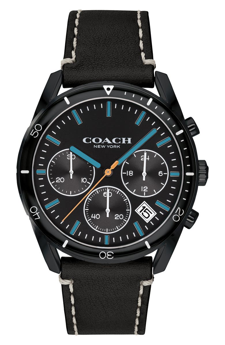 COACH Thompson Sport Chronograph Leather Strap Watch, 41mm, Main, color, 001