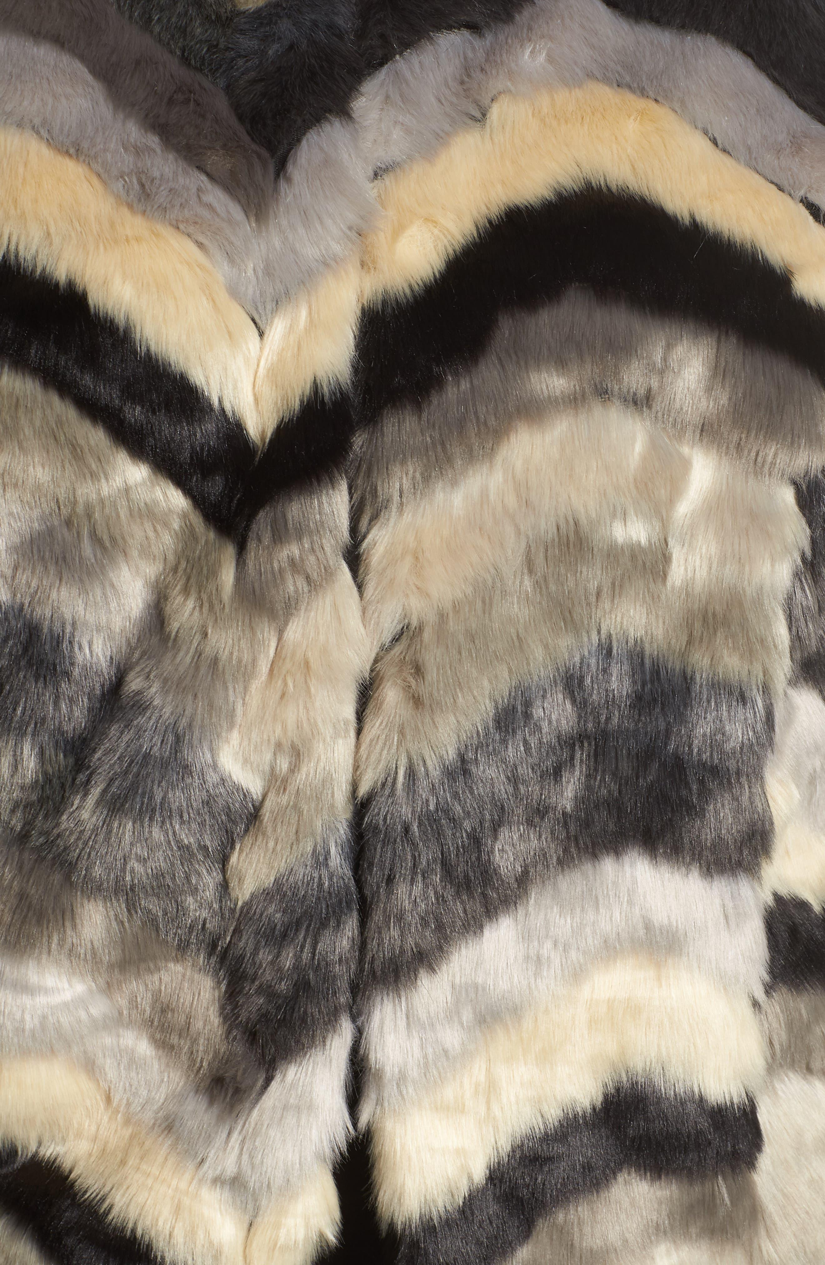 ,                             Chevron Faux Fur Vest,                             Alternate thumbnail 6, color,                             001