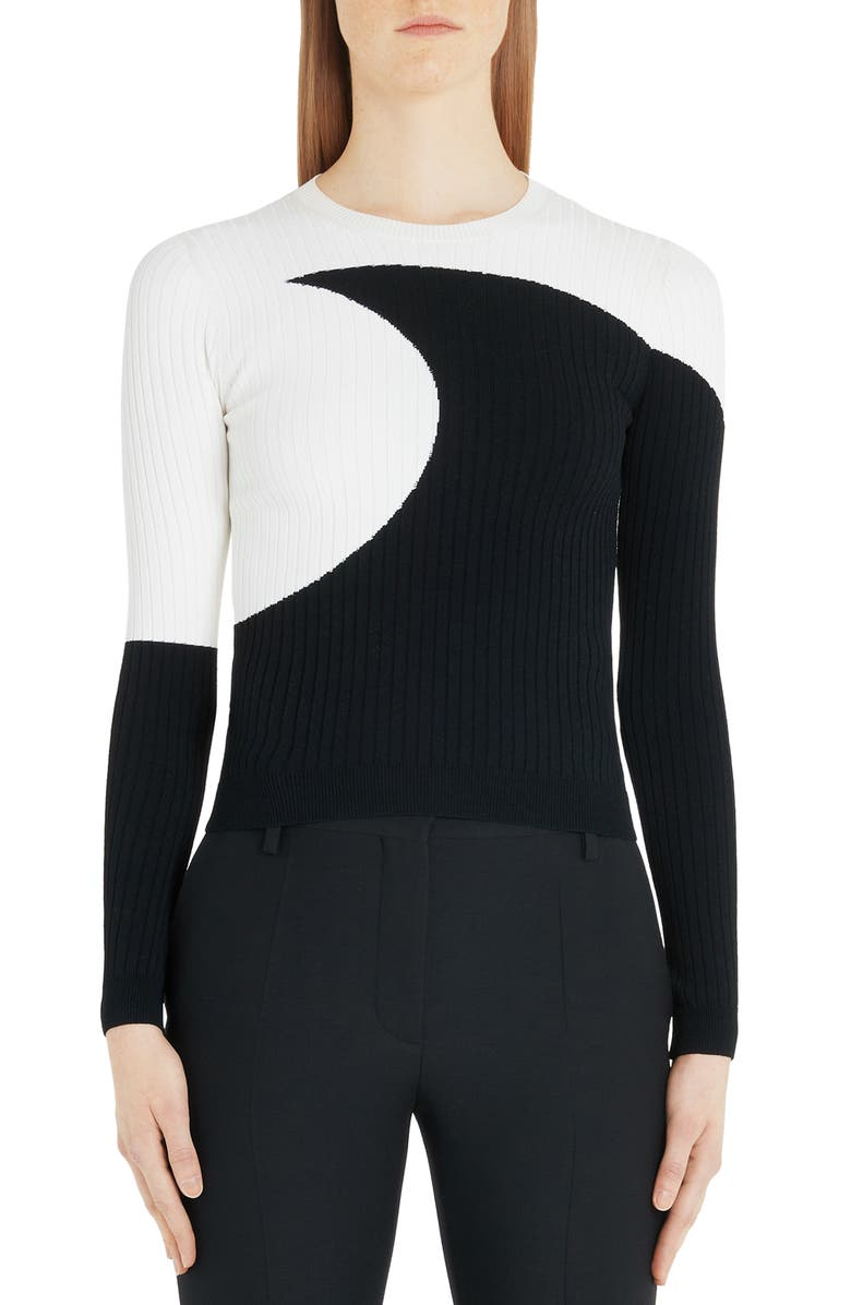 VALENTINO Moon Inlay Ribbed Sweater, Main, color, 0AN-IVORY BLACK