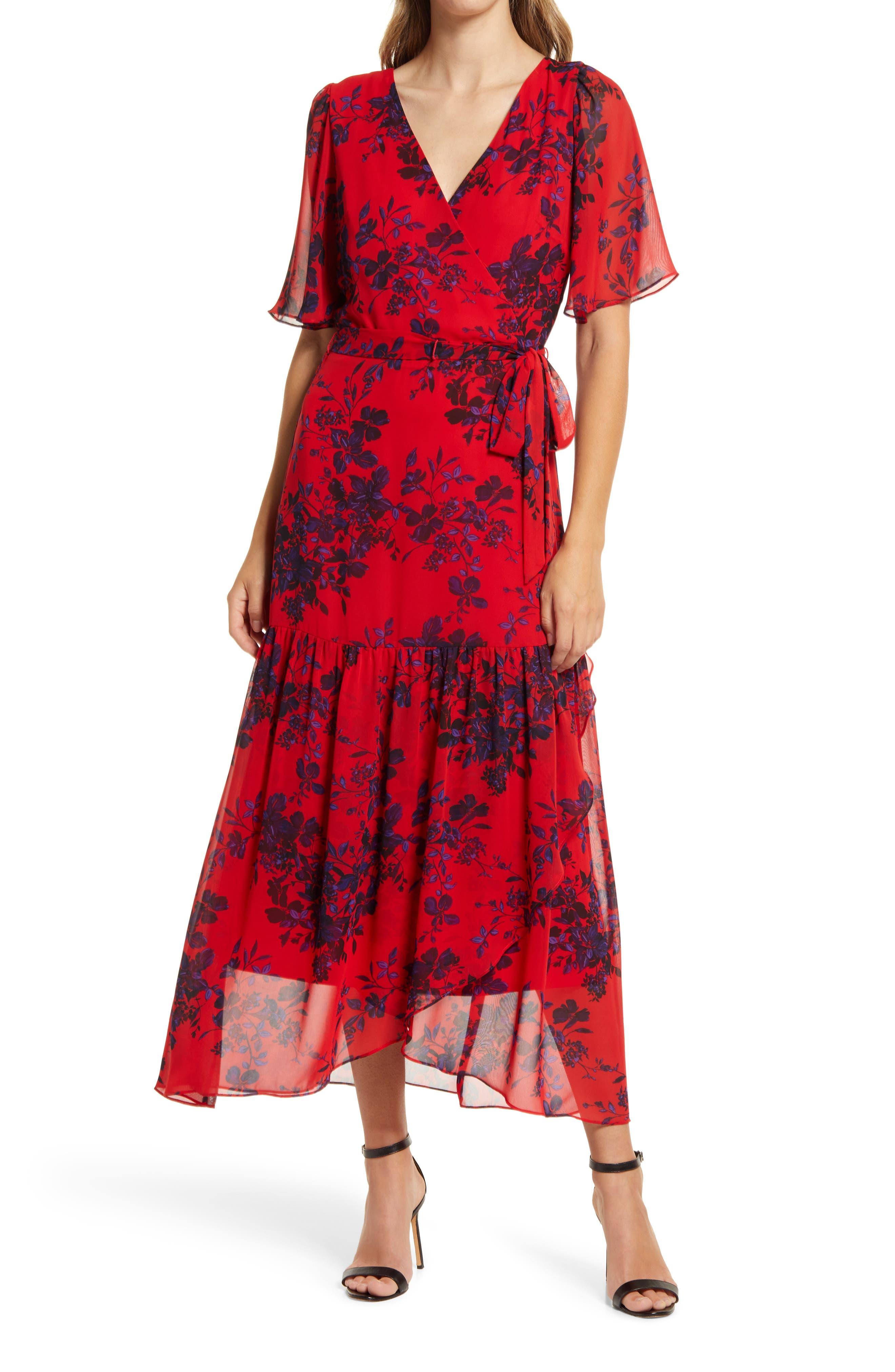 Floral Faux Wrap Flutter Sleeve Dress