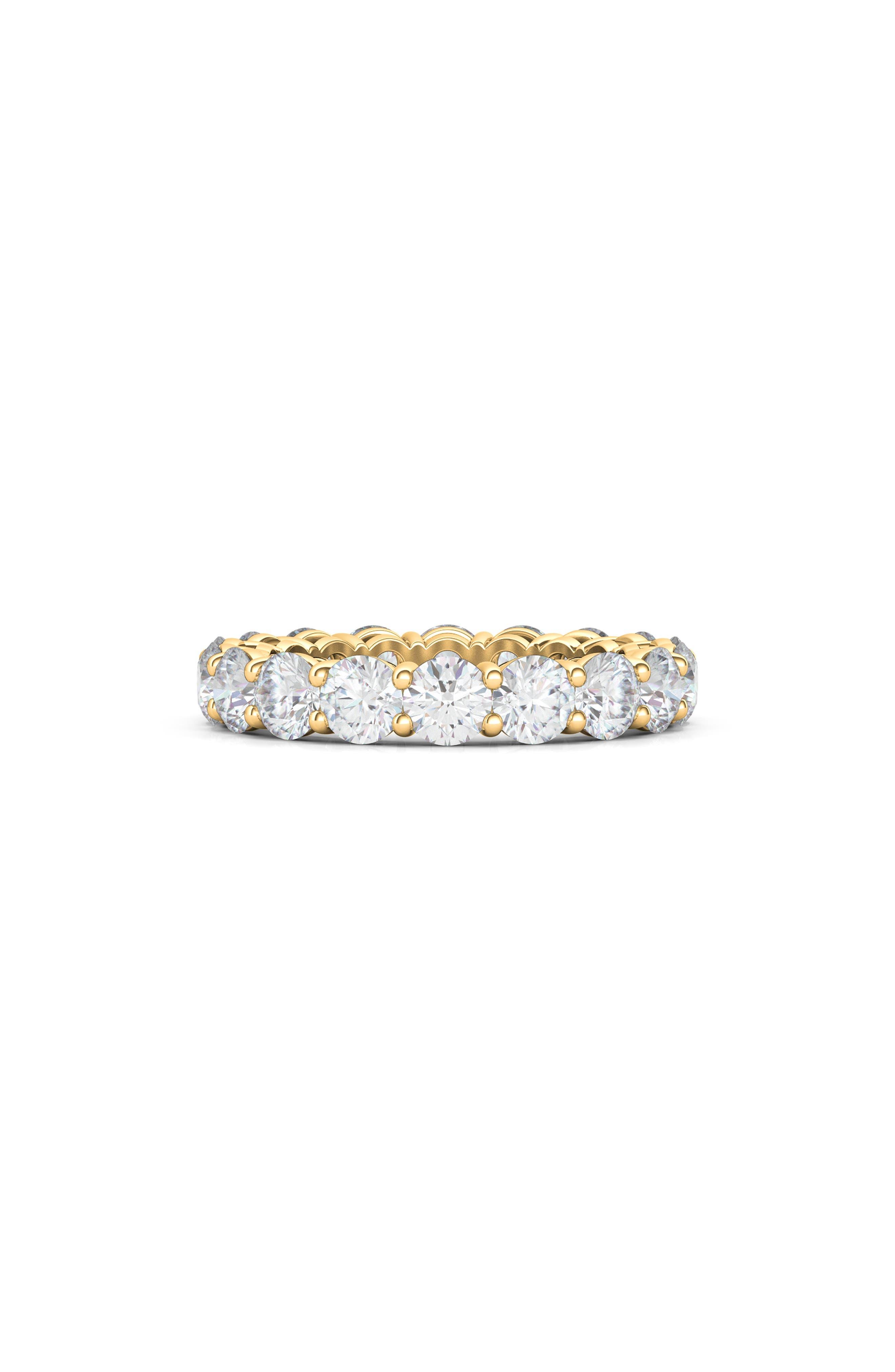 Round Cut 5.60Ct Lab Created Diamond 18K Gold Eternity Band Ring