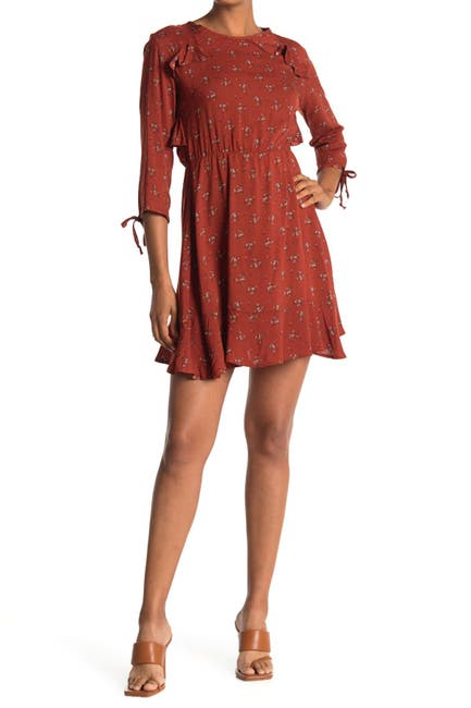 Image of Velvet Torch Floral Ruffle Trim Mini Dress