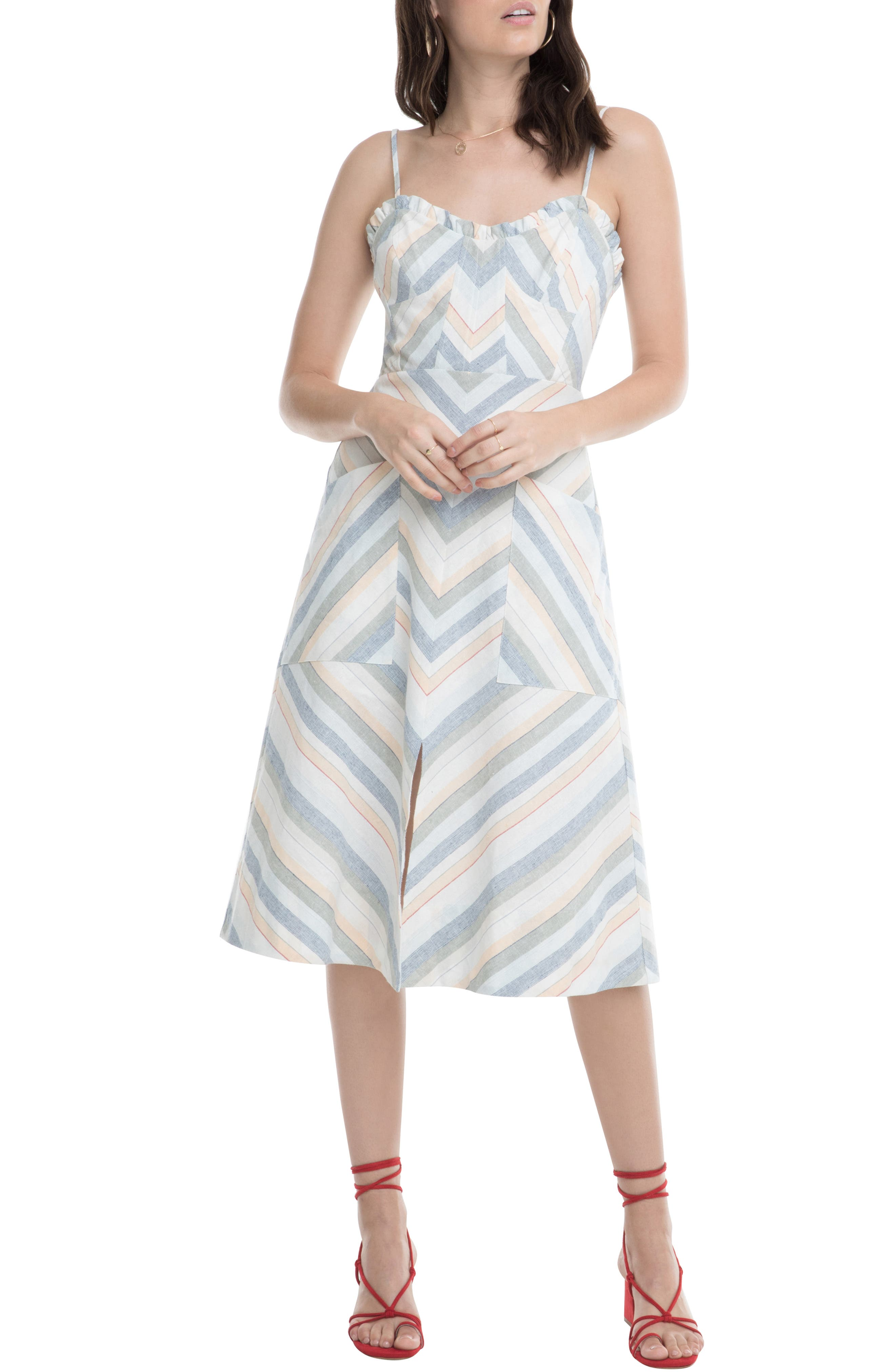Astr The Label Anouk Stripe Mix Cotton & Linen Dress, White