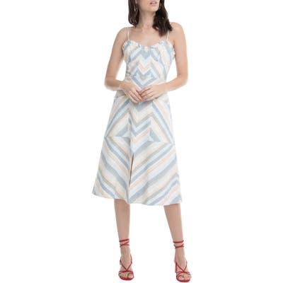 Astr The Label Anouk Stripe Mix Cotton & Linen Dress, White
