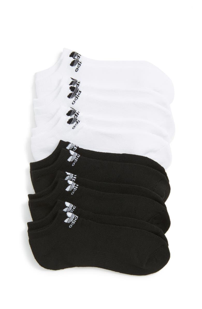 ADIDAS Trefoil 6-Pack No-Show Socks, Main, color, BLACK/ WHITE