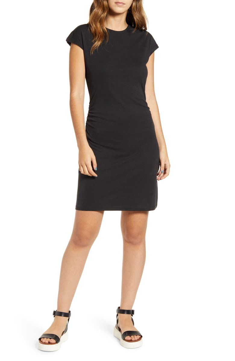 LIRA CLOTHING Take a Walk Short Sleeve Dress, Main, color, BLACK