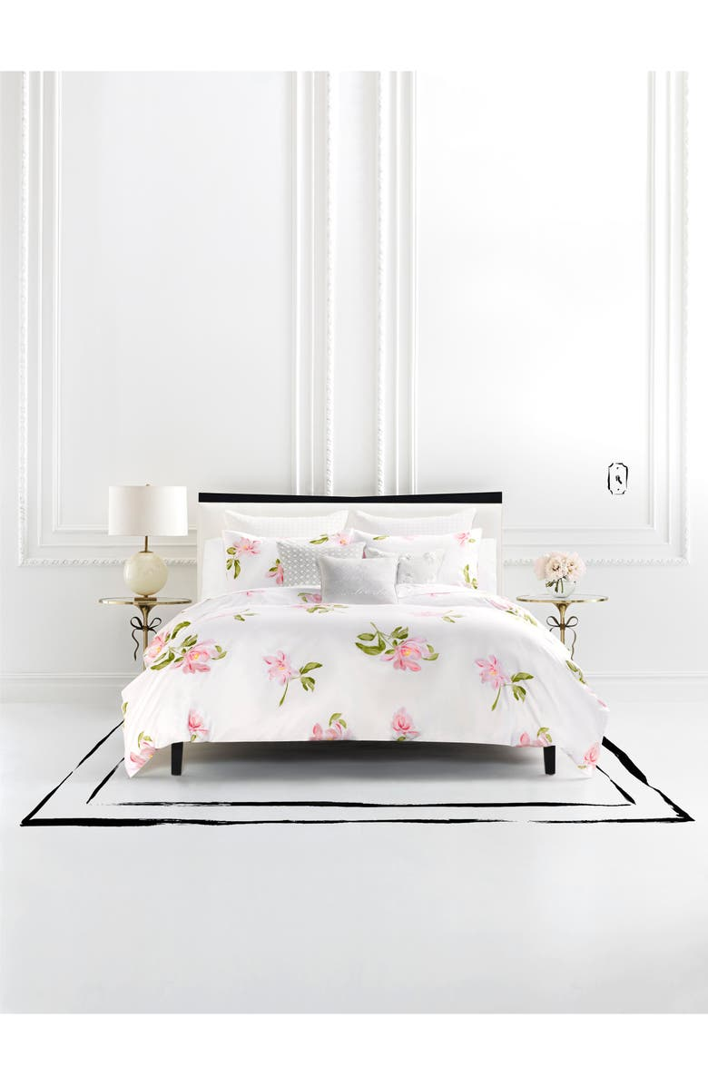 KATE SPADE NEW YORK breezy magnolia comforter & sham set, Main, color, WHITE