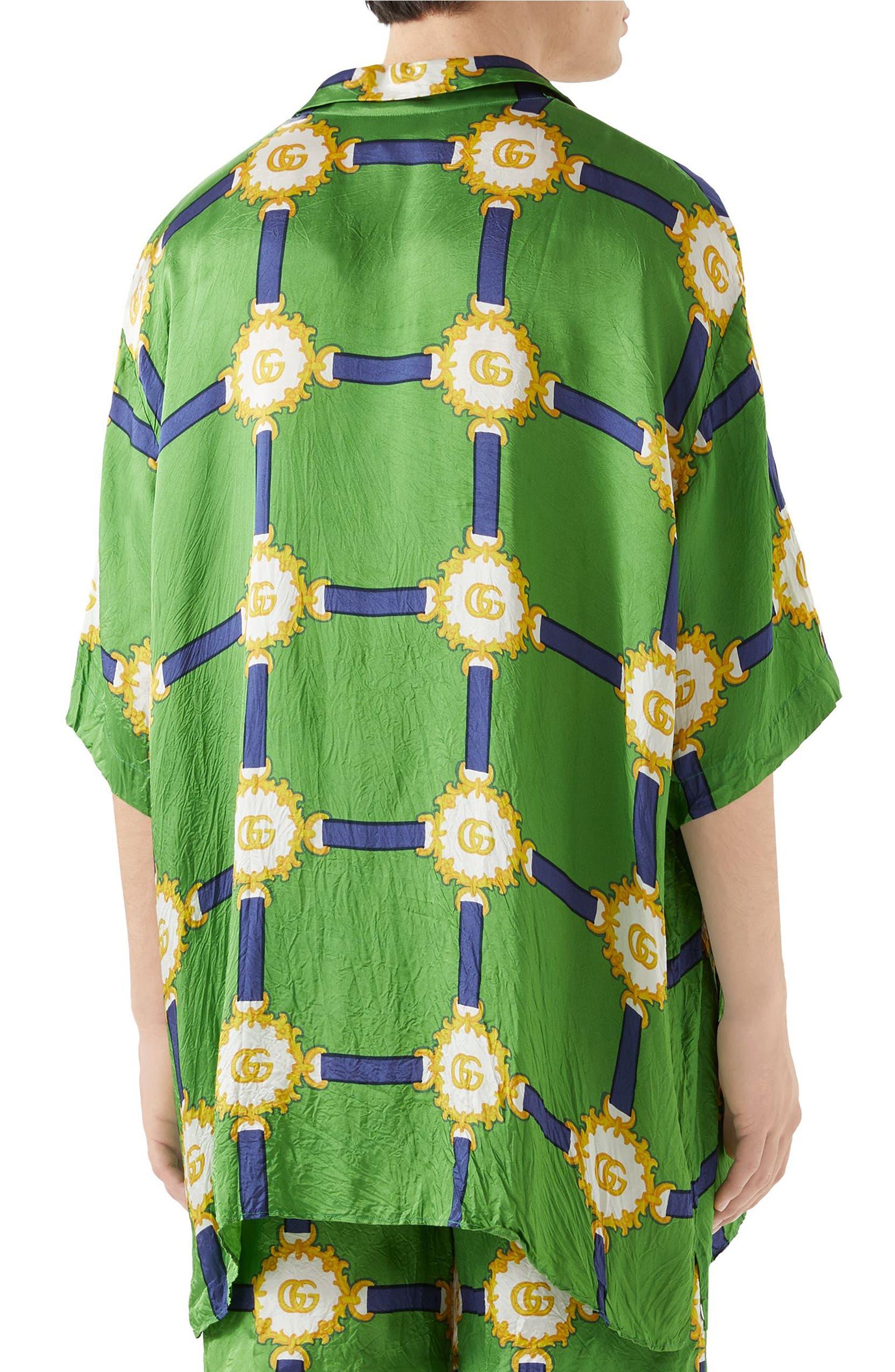 0a809dfea93a Gucci GG Harness Print Bowling Shirt | Nordstrom