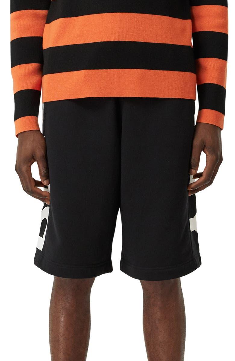 BURBERRY Fawnley Logo Print Cotton Shorts, Main, color, BLACK