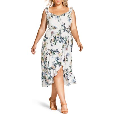 Plus Size City Chic Glasshouse Floral High/low Dress, Ivory