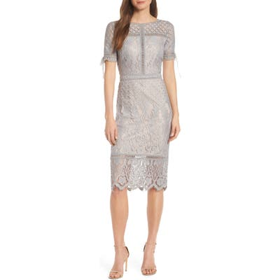 Tadashi Shoji Tie Sleeve Lace Sheath Dress, Grey