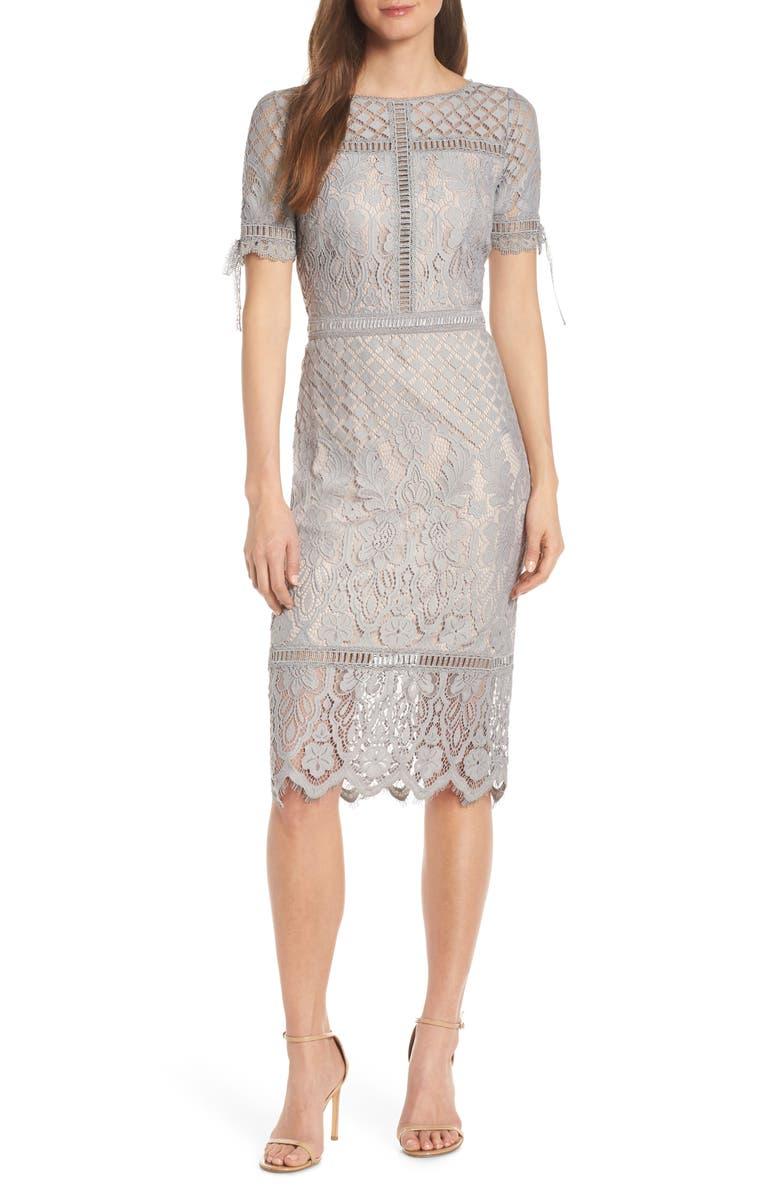 TADASHI SHOJI Tie Sleeve Lace Sheath Dress, Main, color, PEWTER/ PETAL