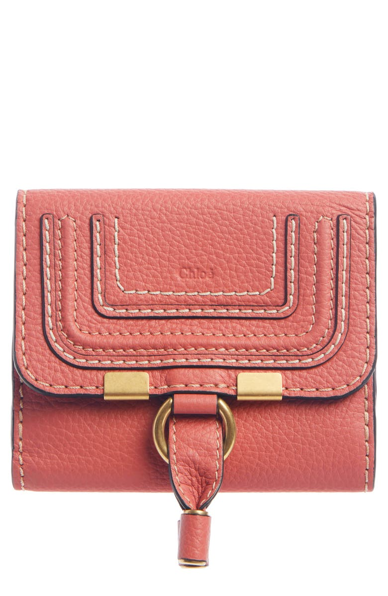 CHLOÉ Marcie Leather French Wallet, Main, color, SCARLET PINK