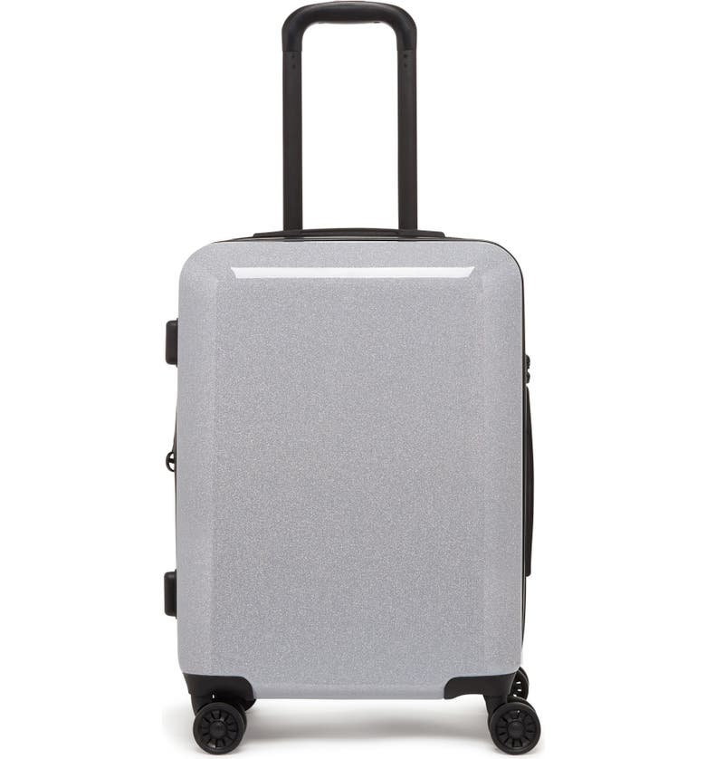 CALPAK Medora Glitter 20-Inch Hard Side Spinner Carry-On Suitcase, Main, color, SILVER STARDUST