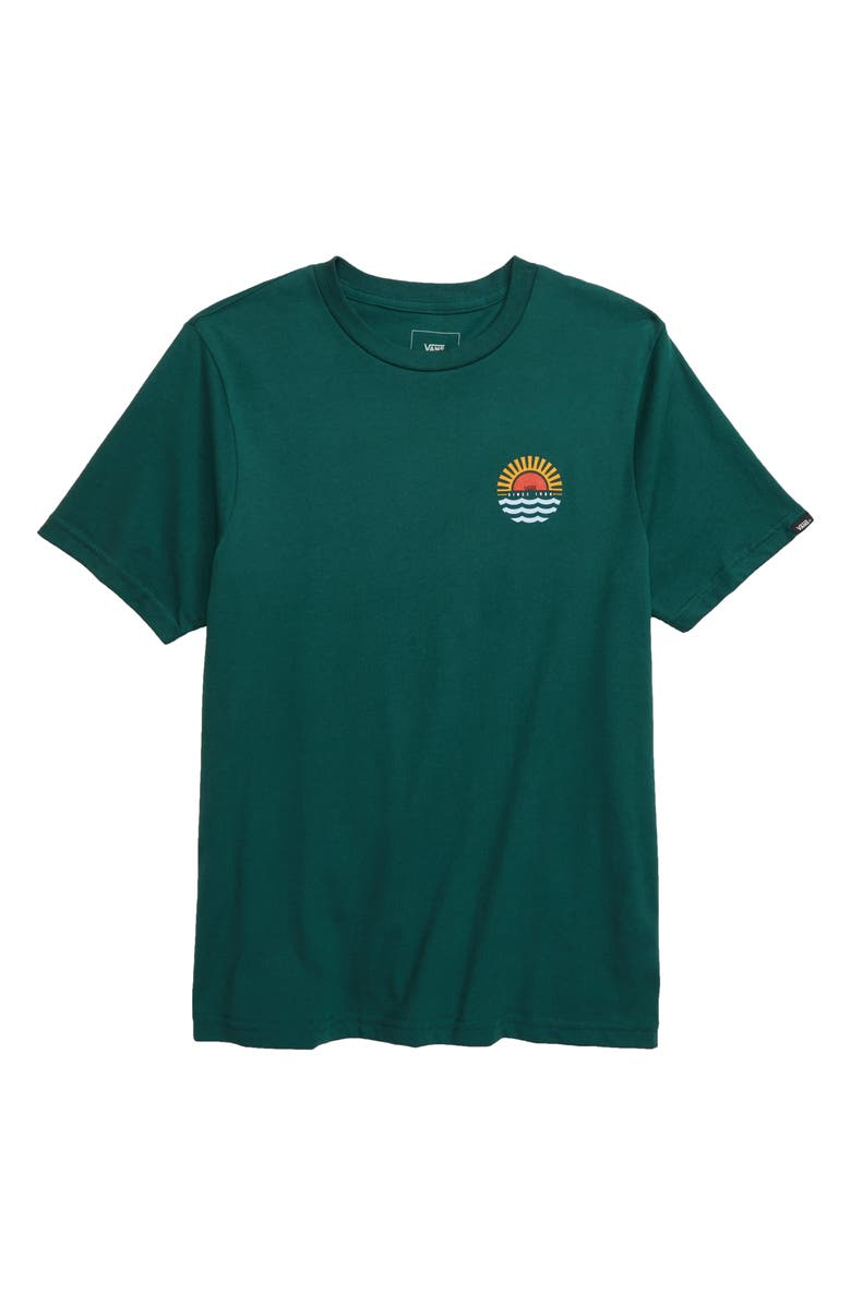 VANS Sunset Beach T-Shirt, Main, color, VANS TREKKING GREEN