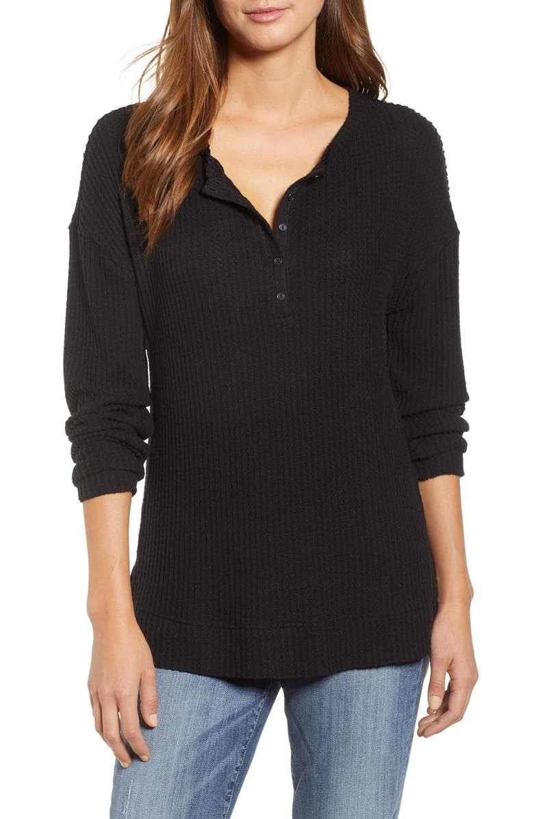 CASLON<SUP>®</SUP> Thermal Henley Top, Main, color, BLACK
