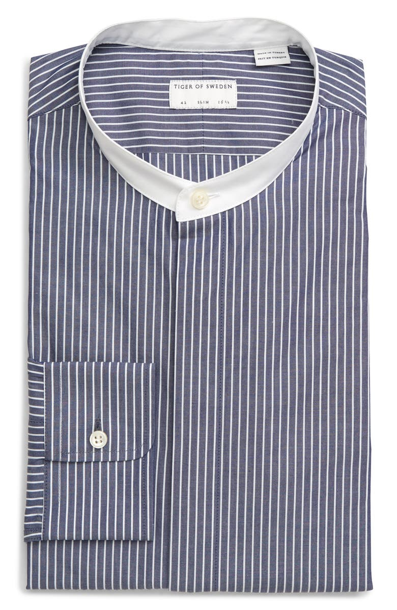 TIGER OF SWEDEN Slim Fit Stripe Band Collar Dress Shirt, Main, color, LIGHT BLUE