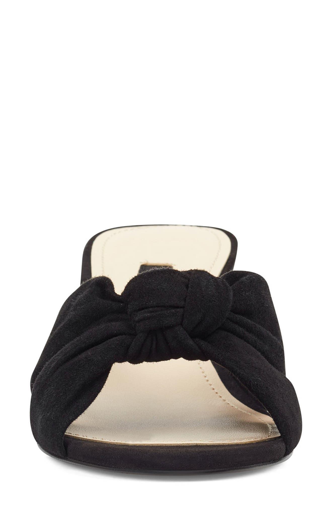 ,                             Kayla Knot Slip-On Sandal,                             Alternate thumbnail 3, color,                             BLACK SUEDE
