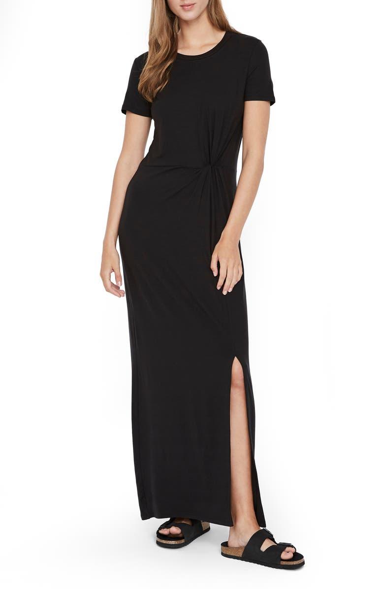 VERO MODA Ava Lulu Short Sleeve Maxi Dress, Main, color, BLACK