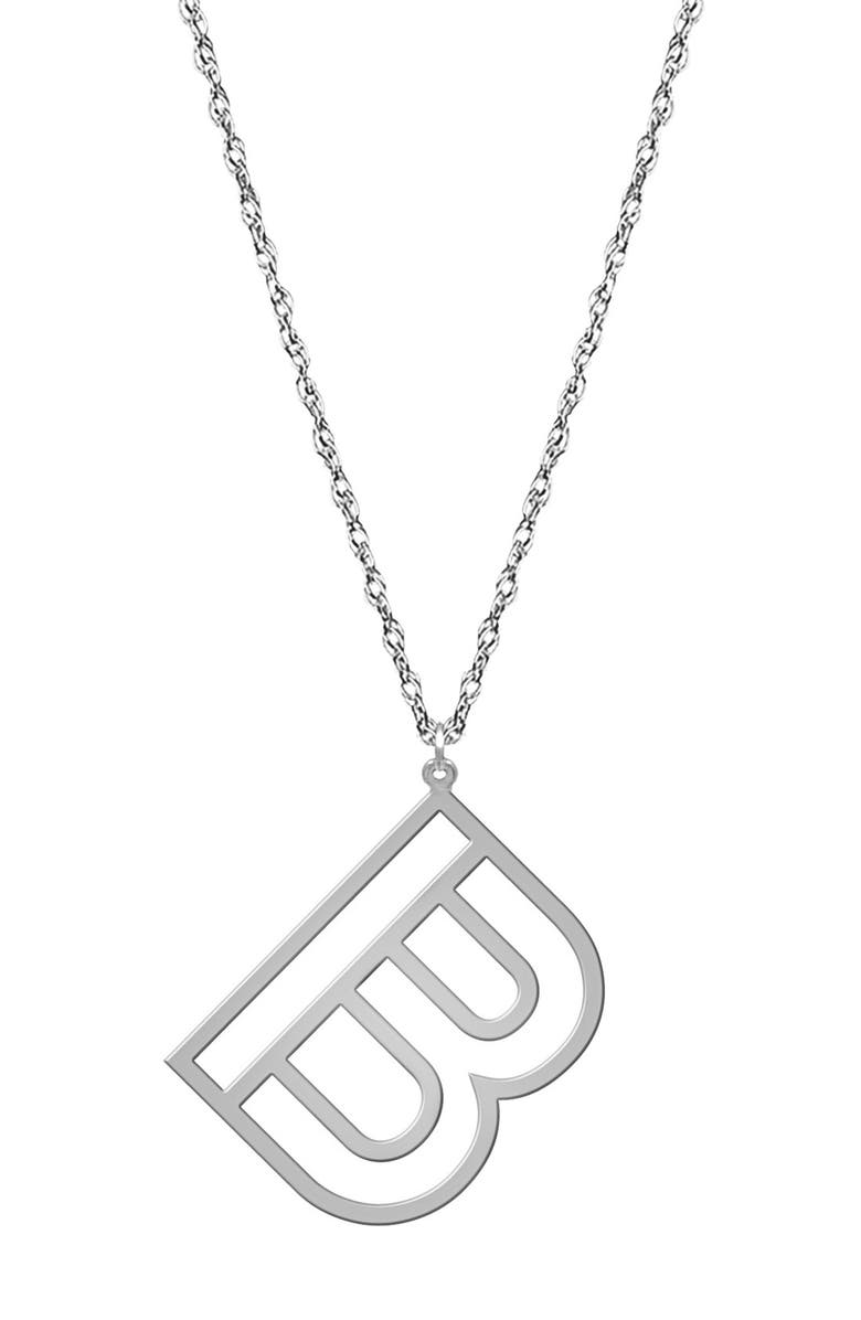 JANE BASCH DESIGNS Varsity Initial Pendant Necklace, Main, color, SILVER - B
